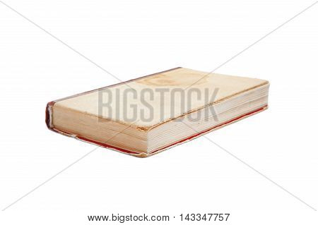 Old Book With A Spot With Cloth Cover Isolated On White.