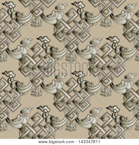 Elegant modern vector seamless pattern background with ornate magic Buddhist symbol - endless knot. Geometric figure, symbolizing prosperity, unity of all things and the fickle nature of time.Happiness and good luck
