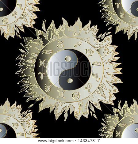 Modern vector seamless pattern background with chinese Yin and yang symbol. Chinese symbol of happiness, good luck, natural dualities and contrary forces.Yin yang is symbol of harmony, balance and feng shui.