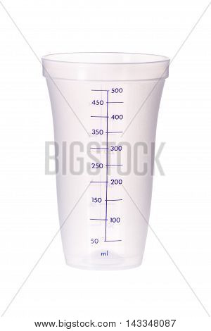 Plastic Measuring Cup Isolated  On White