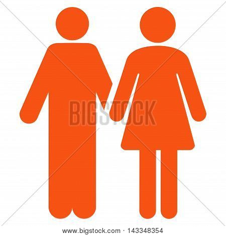 Married Couple icon. Vector style is flat iconic symbol with rounded angles, orange color, white background.
