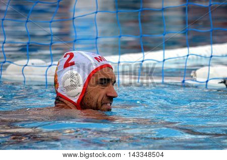 Budapest, Hungary - Jul 17, 2014.BRGULJAN Drasko (MNE, 2). The Waterpolo European Championship was held in Alfred Hajos Swimming Centre in 2014.