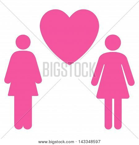Lesbi Love Pair icon. Vector style is flat iconic symbol with rounded angles, pink color, white background.