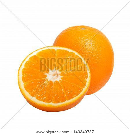 Delicious Fresh Natural Ripe Cut Oranges Isolated On White Backg
