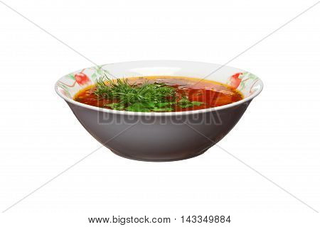 Ukrainian Borsch With Greens On A White Background