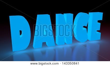 Dance music genre neon shine word on reflected surface. 3D rendering