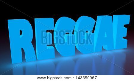 Reggae music genre neon shine word on reflected surface. 3D rendering