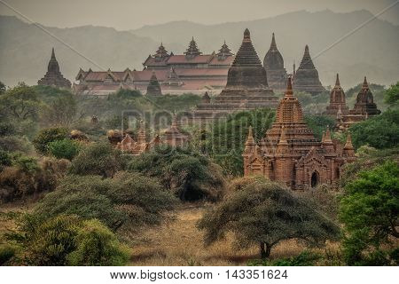 Myanmar Bagan historical site and Buddhist temples panoramic view