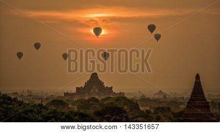 Balloon air at Ancient Temples in Bagan Myanmar