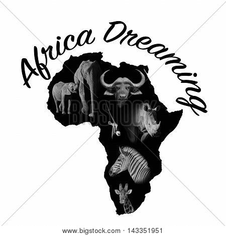 A black representation of the continent of Africa with animal portraits within