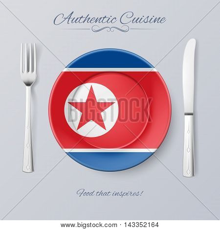 Authentic Cuisine of North Korea. Plate with North Korean Flag and Cutlery