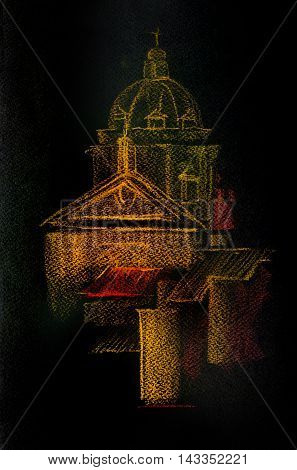Graphic illustration of Rome. Italy. Poster Design. Color pencil.