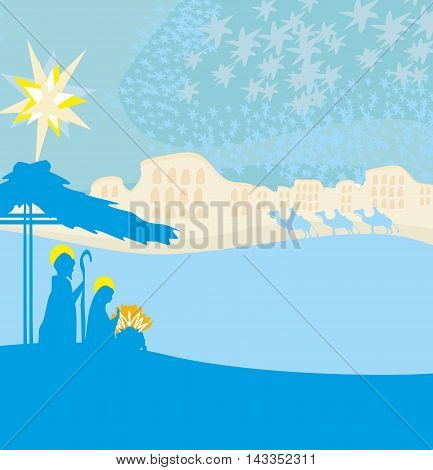 Biblical scene - birth of Jesus in Bethlehem , vector illustration