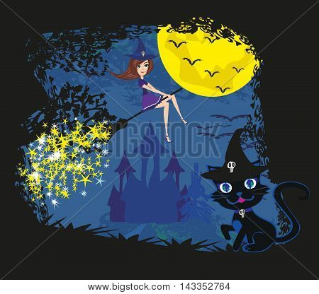 witch with a broom and a cat , vector illustration