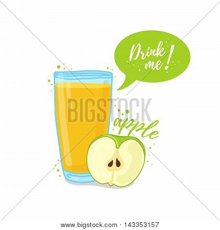 Design Template banner, poster, icons apple smoothies. Illustration of apple juice Drink me. Apple fresh fruit cocktail. Vector