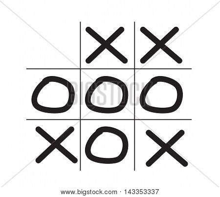 Illustration of tictactoe game isolated on white background