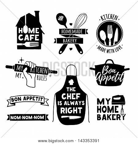 Set of vintage retro handmade badges, labels and logo elements, retro symbols for bakery shop, cooking club, cafe, food studio or home cooking. Template logo with silhouette cutlery.