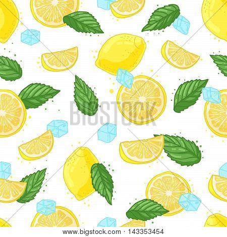 Seamless pattern with decoration of fresh lemons, lemon slices, ice and mint. The background to the Ingredients for summer lemonade.