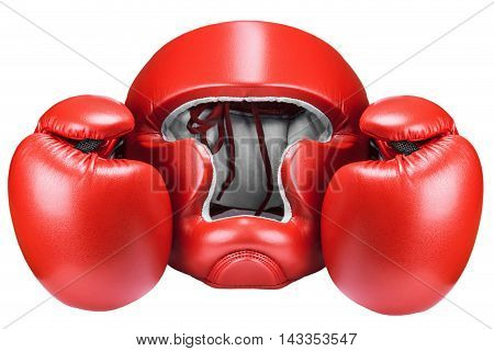 Boxing helmet and red gloves isolated on white background