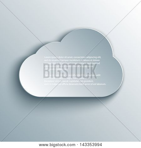 Vector cloud design element in 3d, paper and origami style.