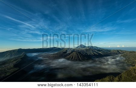 Mount Bromo volcano during sunrise East Java Indonesia.