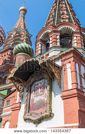 Moscow, Russia - August 7, 2016: interior of the church plate and the Pokrovsky Cathedral St. Basil's Cathedral in Moscow