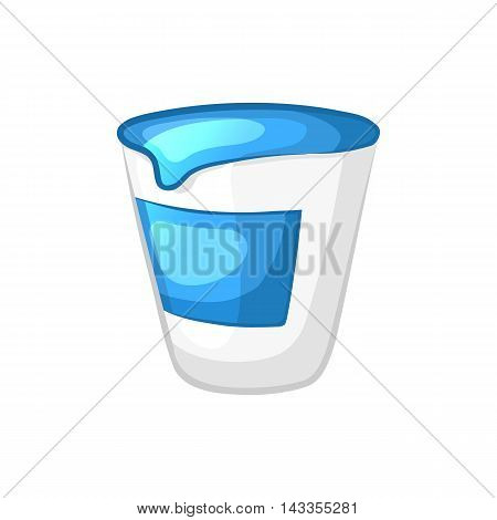 Sour cream in the plastic bag. Cartoon icon. Isolated object on a white background. Vector illustration.