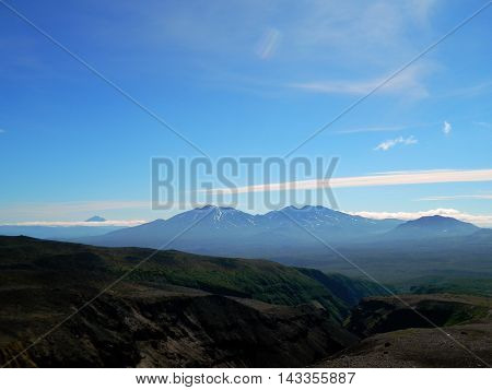 Summer view of the Mountain ringe of Kamchatca