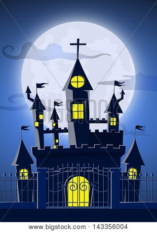 Spooky Ghost Castle With Full Moon In Background