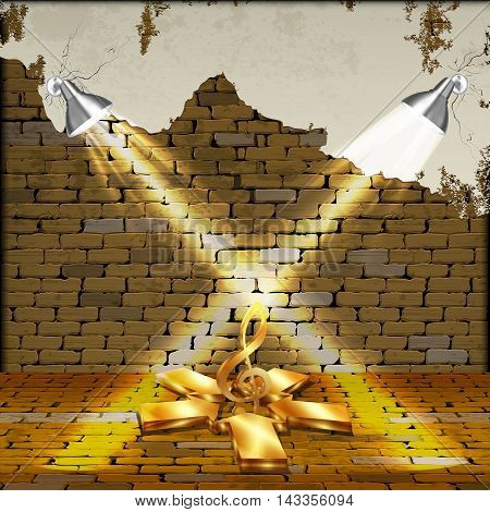 Free background old brick wall illuminated by lamps and a gold treble clef arrow .. You can use text or image.