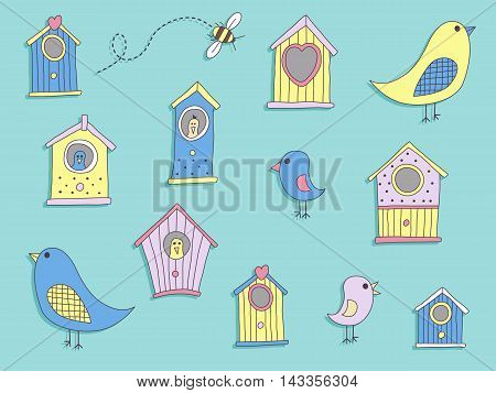 A set of cute bird houses and birds
