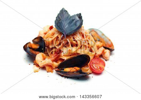Italian Pasta with Seafood. Tagliatelle marinara Italian cuisine