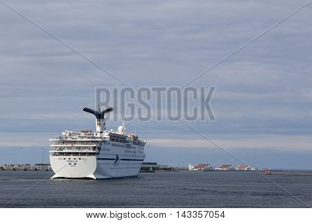 Copenhagen, Denmark - August 17, 2016: Cruise ship Magellan leaving Copenhagen harbour