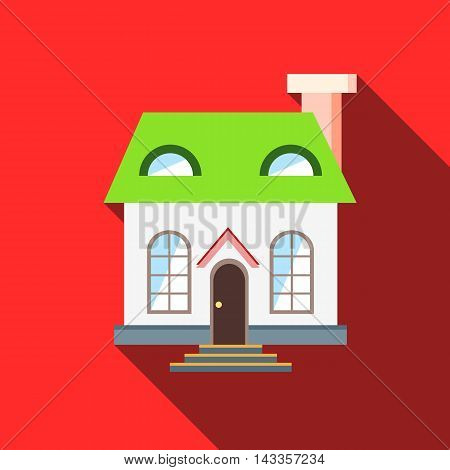 Green roof house icon in flat style with long shadow