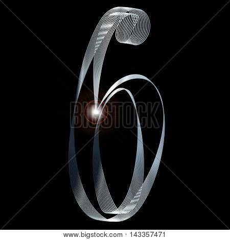 The number six depicted in fine silver thread over a black background