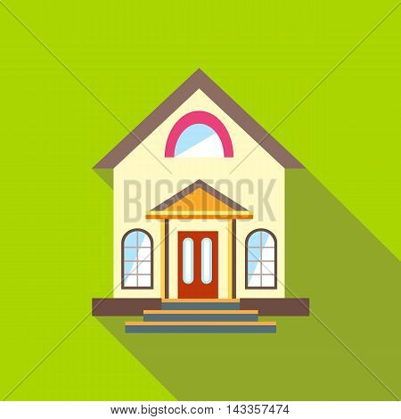Small cute house icon in flat style with long shadow