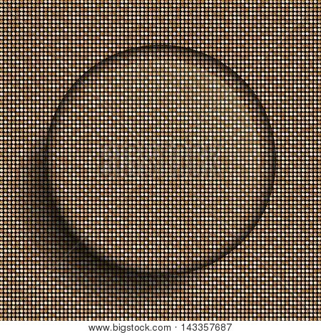 Vector glass circle button on shiny gold paillettes background . Sparkle glitter background. Glittering sequins wall.