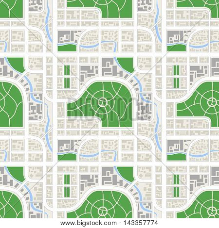 Bright detailed abstract map of the city with river and parks seamless pattern