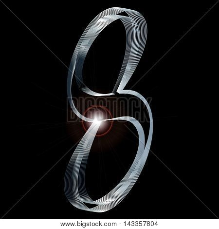 The number eight depicted in fine silver thread over a black background