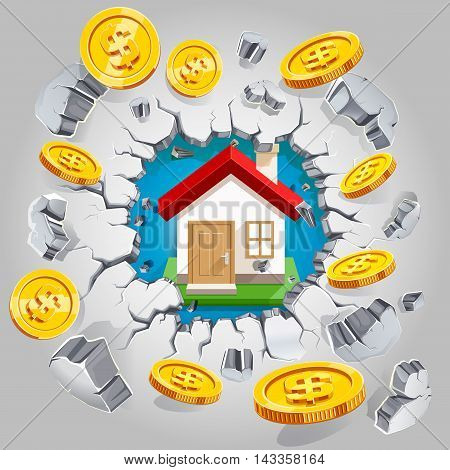 House and gold dollar coin breaking through the concrete wall background. Vector illustration.