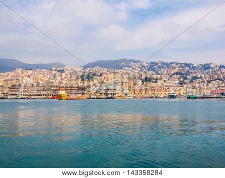 View Of Genoa Italy From The Sea Hdr
