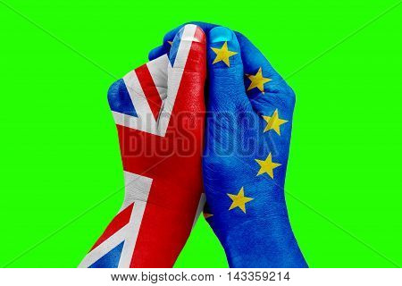 Brexit, Hand Patterned With The Flag Of The Blue European Union Eu And One Hand Patterned With The F