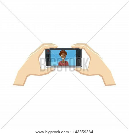 Somebody taking photo of a girl with smartphone icon in cartoon style on a white background