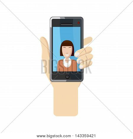 Woman taking selfie photo on smartphone icon in cartoon style on a white background