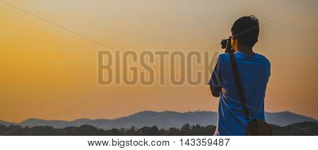 silhouette background. Cameraman was photographed during sunset ..