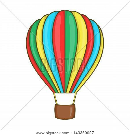 Colorful air balloon icon in cartoon style on a white background