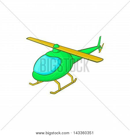 Green helicopter icon in cartoon style on a white background