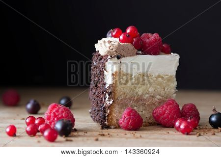 peace of cake decorated with fresh berries