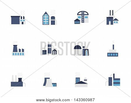 Industry facilities and objects. Modern and classic industrial architecture, storages, plants and factories Blue flat color style vector icons set.
