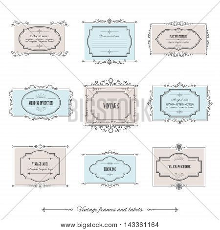 Filigree calligraphic borders and labels in pastel colors.